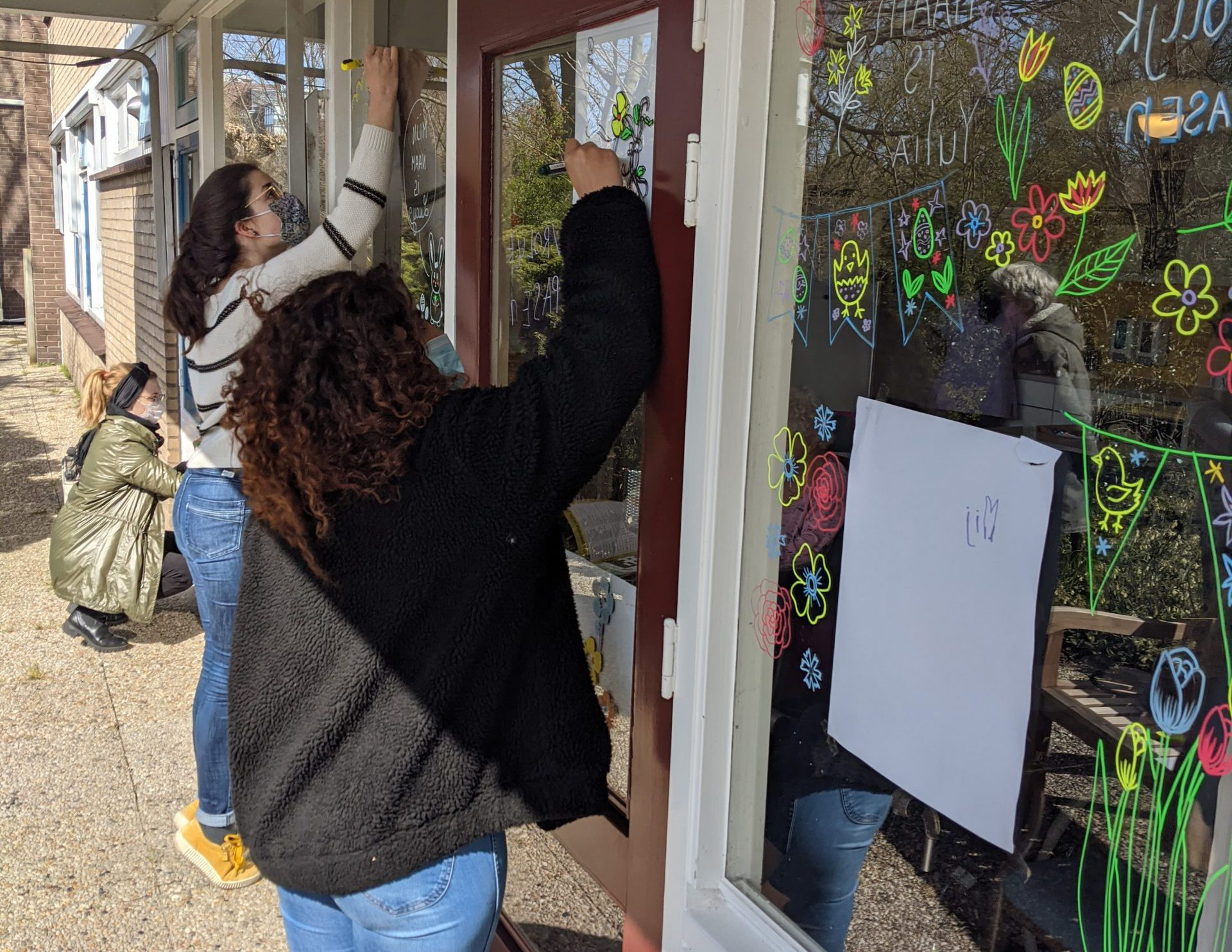 Easter window painting for elderly house